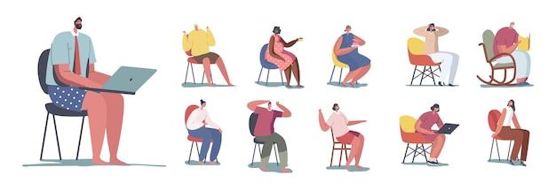 의자에 앉아 있는 사람들의 집합입니다. 남성과 여성 캐릭터는 회전의자에서 휴식을 취하거나 노트북을 읽거나 작업하고 흰색 배경에 격리된 과자를 먹고 커피를 마십니다. 만화 벡터 일러스트 레이 션