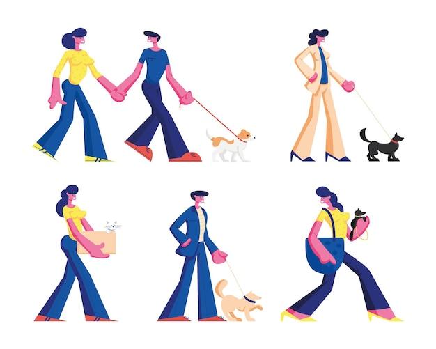 사람들의 집합은 애완 동물과 함께 시간을 보냅니다. 산책과 개, 만화 일러스트와 함께 노는 남성과 여성 캐릭터