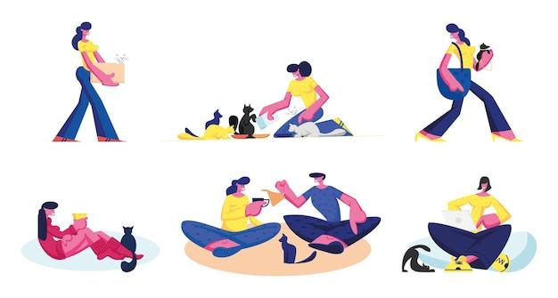 사람들은 애완 동물과 함께 시간을 보냅니다. 고양이와 개 흰색 배경에 고립의 남성과 여성 캐릭터 케어. 만화 평면 그림
