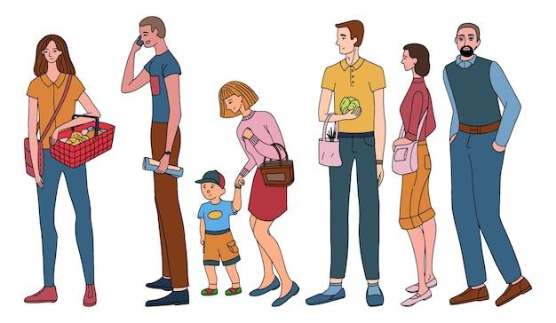 대기열이나 거리에 서 있는 사람들의 집합입니다. 완전히 성장하는 인간. 흰색 절연 여성과 남성의 다채로운 그림. 간단한 스타일에 손으로 그린 벡터 일러스트 레이 션의 컬렉션입니다.