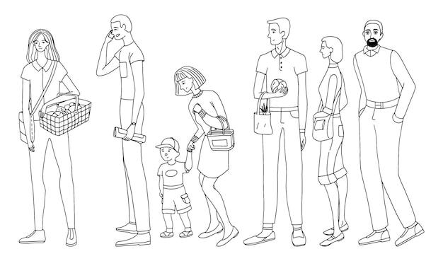 대기열이나 거리에 서 있는 사람들의 집합입니다. 완전히 성장하는 인간. 흰색 절연 여성과 남성의 개요 그리기. 간단한 스타일에 손으로 그린 벡터 일러스트 레이 션의 컬렉션입니다.