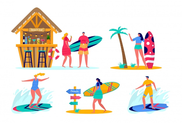 サーフボードとビーチウェアでサーフィンをする人のセットです。海、海、ビーチバーで休暇を楽しむ若い女性と男性。