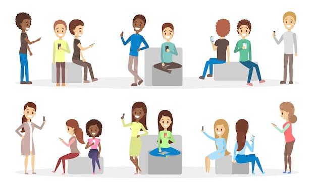 휴대 전화를 사용하는 사람들의 집합입니다. 청소년들은 스마트 폰을 사용하여 소셜 네트워크를 통해 친구들과 소통합니다. 인터넷 중독. 격리 된 평면 벡터 일러스트 레이 션