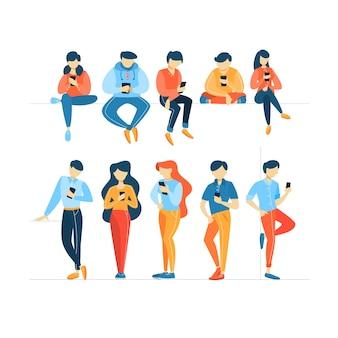 携帯電話を使用している人々のセット。
