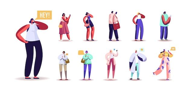 スマートフォンを使用している人々のセット。男性と女性のキャラクターは、携帯電話と通信し、友人に電話をかけ、白い背景で隔離されたwebでチャットやメッセージングを行います。漫画のベクトル図