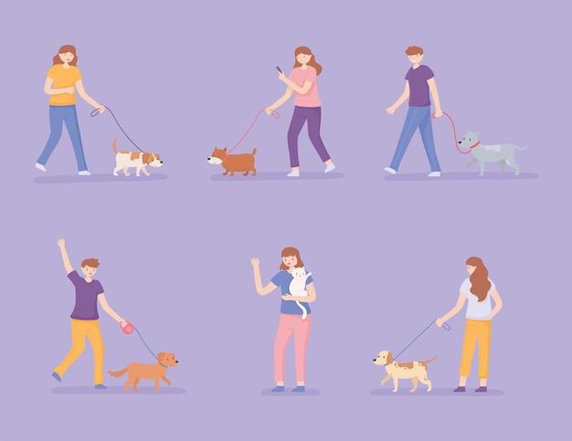 개를 산책 하는 사람들의 집합