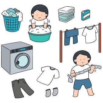 Набор людей, стирающих одежду