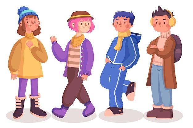 冬に居心地の良い服を着ている人々のセット