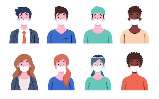 病気、インフルエンザ、大気汚染、汚染された空気、世界の汚染を防ぐために保護医療用フェイスマスクを着用している人々のセット。男性と女性はコロナから身を守ります、covid-19、2019-ncov。