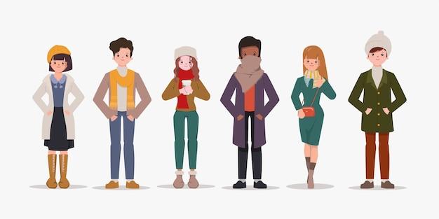 冬服コレクションを着ている人のセット。 Premiumベクター