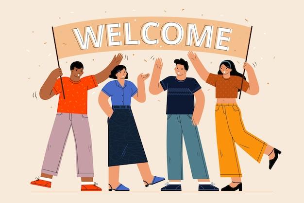 Набор людей, приветствующих иллюстрированный