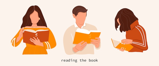 Набор людей, которые читают книги с изолированного фона. молодые люди. стильная иллюстрация. прочтите больше концептуальных книг.