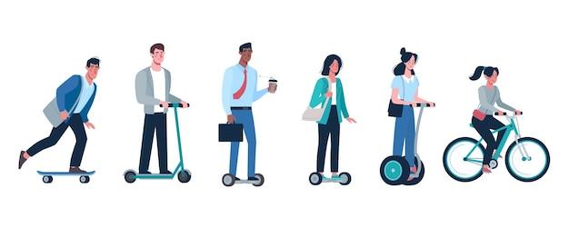 Множество людей, которые ездят на экологически чистых альтернативных транспортных средствах