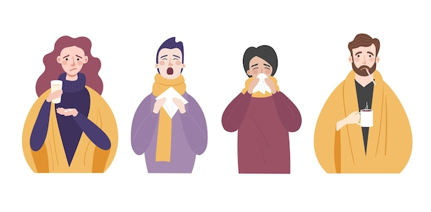 風邪やインフルエンザの症状のある人のセット鼻水咳熱とくしゃみのあるキャラクター