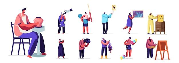 Набор людей с различным хобби. мужские и женские персонажи с телескопом, почтовые марки, вязальные инструменты, пасека, музыкант и рыбалка, изолированные на белом фоне. векторные иллюстрации шаржа