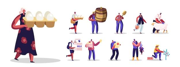 農産物を持つ人々のセット。生態学的な新鮮な卵、蜂蜜、乳製品、魚、羊毛、白い背景で隔離の野菜を購入する男性と女性のキャラクター。漫画のベクトル図