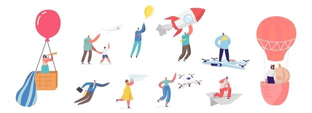 Набор людей с летательным транспортом. мужские и женские персонажи, летающие на воздушном шаре, ракетном двигателе или самолете, квадрокоптере, реактивном ранце, изолированные на белом фоне. векторные иллюстрации шаржа