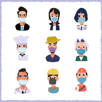 マスクを持つ人々のセット-