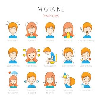 Набор людей с симптомами мигрени Premium векторы