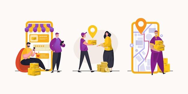 Набор людей с концепцией онлайн-покупок Premium векторы