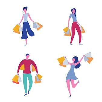 ショッピングバッグとプレゼントを持つ人々のセット。男性と女性のキャラクター、大きな販売、割引、広告バナー、プロモーションポスターの概念図
