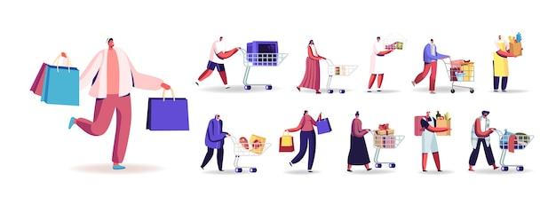 Набор людей с торговыми пакетами, покупая продукты, подарки. мужские и женские персонажи нажимают тележку, несут бумажные пакеты и тележки в супермаркете, изолированные на белом фоне. векторные иллюстрации шаржа