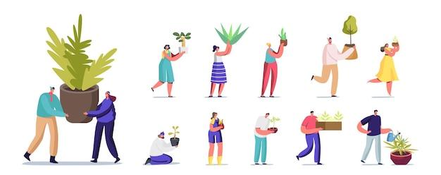 다양한 식물을 가진 사람들의 집합입니다. 화분에 심은 꽃, 원예 취미, 나무 심기, 흰색 배경에 고립 된 국내 식물의 관리와 남성과 여성 캐릭터. 만화 벡터 일러스트 레이 션