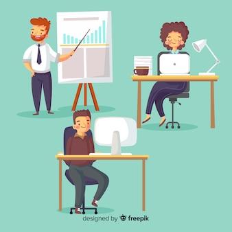 사무실에서 일하는 사람들의 집합