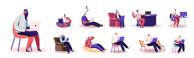 컴퓨터에서 집에서 일하는 사람들의 집합입니다. 남성과 여성의 문자 원격 직장, 숙제, 흰색 배경에 고립 된 프리랜서 자영업 직업. 만화 벡터 일러스트 레이 션