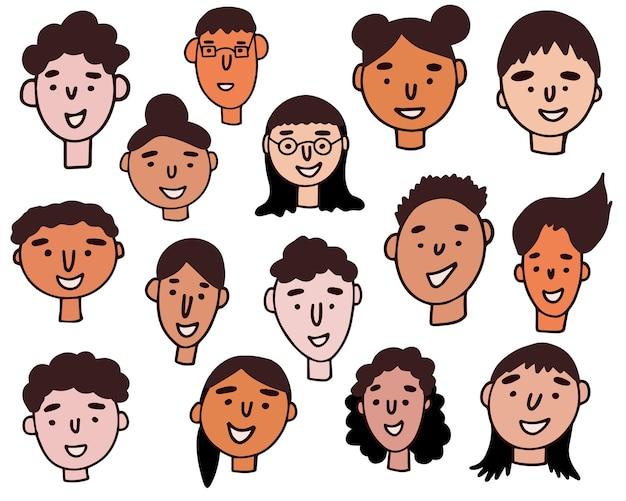사람들 얼굴의 집합입니다. 손으로 그린 그래픽입니다. 라인 아트. 다른 남자와 여자. 만화 캐릭터. 벡터 일러스트 레이 션