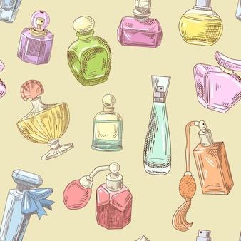 香水のシームレスなパターンのセット