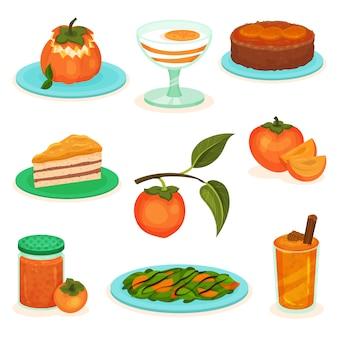 감 디저트와 음료의 집합입니다. 케이크, 요거트, 스무디 달콤하고 맛있는 과일. 샐러드, 잼 뱅크