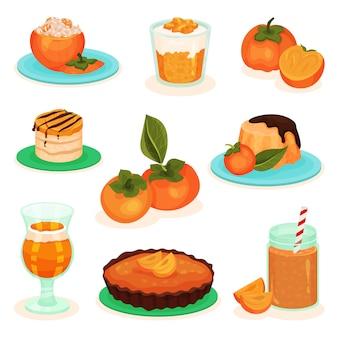 감 음료와 음식의 집합입니다. 맛있는 과일 디저트. 치즈 케이크, 케이크, 푸딩 및 스무디