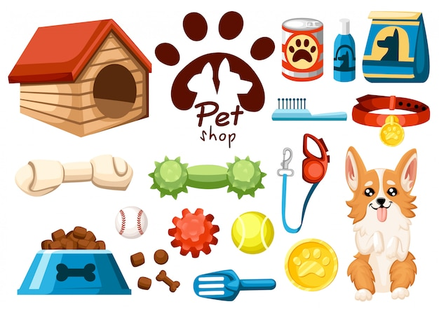 애완 동물 상점 아이콘의 집합입니다. 개용 액세서리. 삽화. 사료, 장난감, 공, 고리. 애완 동물 가게를위한 제품. 흰색 배경에 벡터 일러스트 레이 션