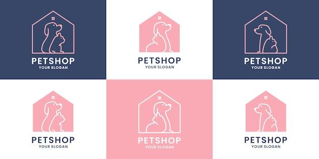 애완 동물 가게 로고 디자인 세트입니다. 개와 고양이 조합으로