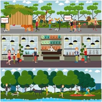 Набор домашних животных и животных зоопарка плоские плакаты, баннеры