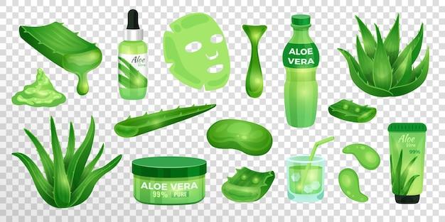 약국 즙이 많은 알로에 베라 식물 잎과 화장품용 요소 세트