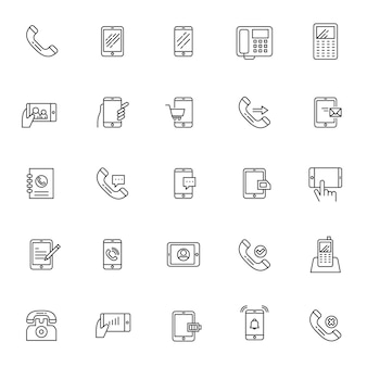 Set of phone telecommunication icons with simple outline