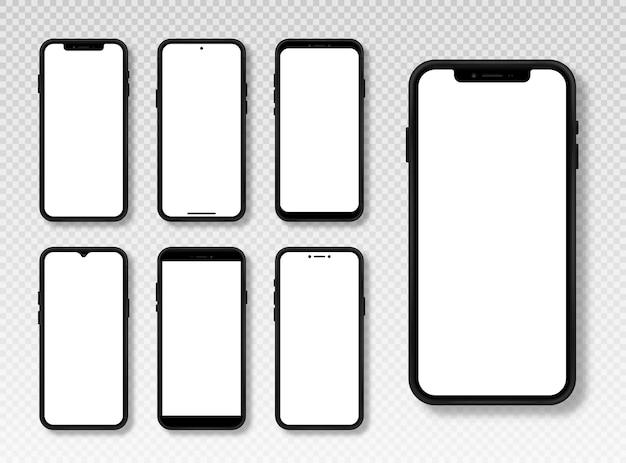 전화 모형 세트 웹용 검정색 프레임과 흰색 빈 화면이 있는 현실적인 스마트폰 모형
