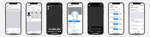 소셜 네트워크 용 facebook 템플릿 프레임이있는 휴대폰 세트