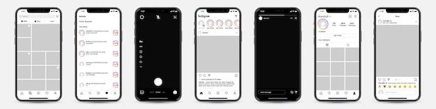 소셜 네트워크 용 instagram 템플릿 프레임이있는 휴대폰 세트