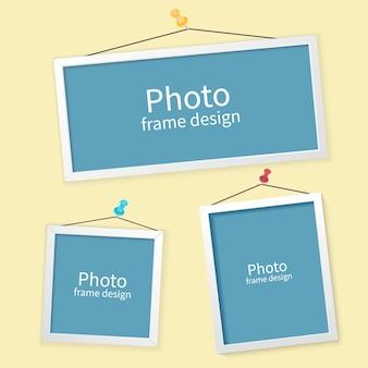 フォトフレームのセットです。壁に空白のフォトフレーム。画像またはテキストの額縁デザインベクトル