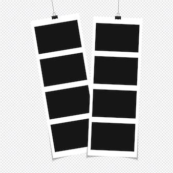 투명 한 배경에 고립 된 스티커 테이프에 사진 프레임 세트