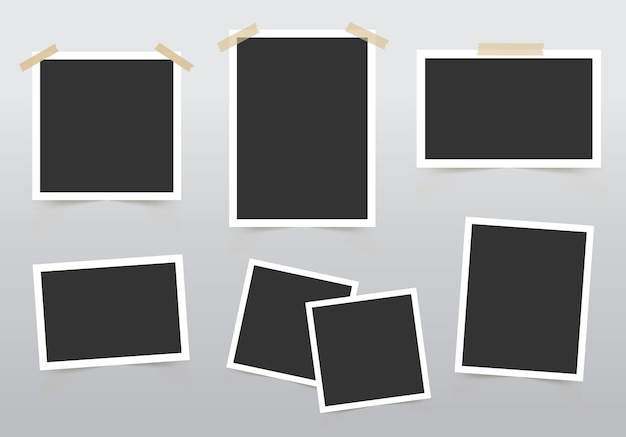 Набор фоторамки. шаблон для ваших фотографий, изолированных на сером фоне.