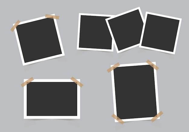 회색 배경에 고립 된 사진에 대 한 사진 프레임 템플릿 집합입니다.