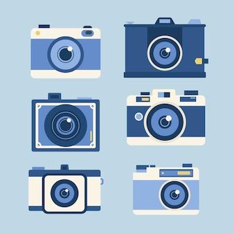 평면 디자인의 사진 카메라 세트