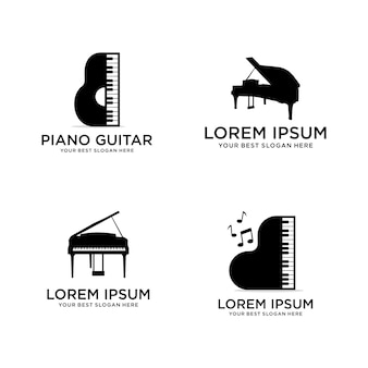ピアノ音楽ロゴのセット