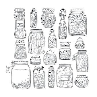野菜、果物、ハーブ、果実の棚の上に漬物のjarファイルのセット。秋のマリネ料理。輪郭図。