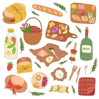 ピクニックの食べ物や飲み物のセット