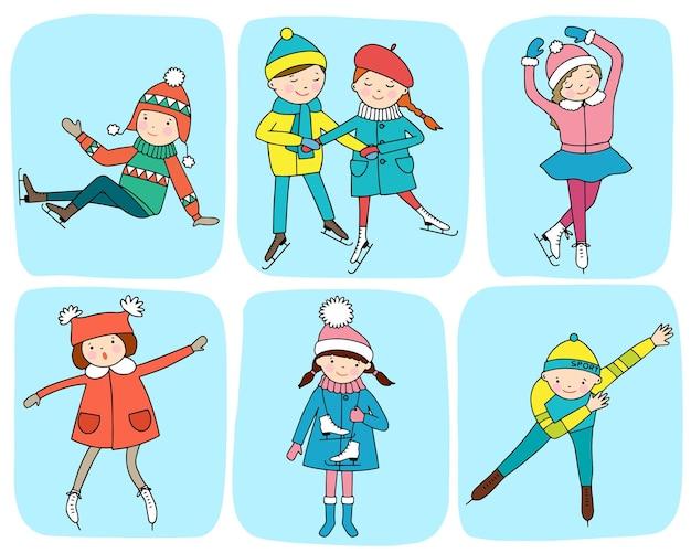 Набор картинок с детьми на коньках. концепция зимних развлечений.